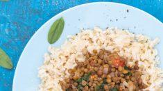 Receta de Lentejas con arroz y espinacas