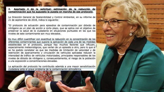 Carmena reconoce en un informe que no sabe cuánto reduce la contaminación su protocolo antipolución