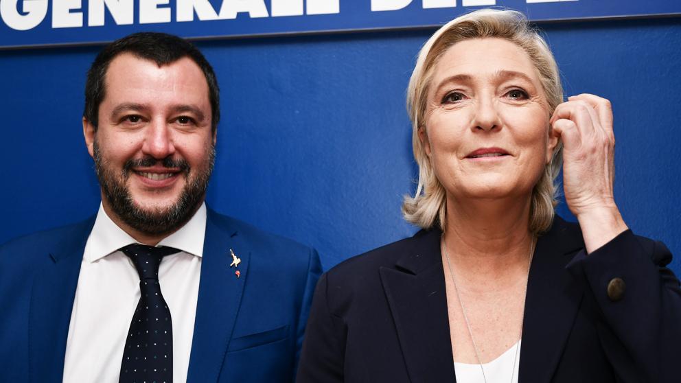 Matteo Salvini y Marine Le Pen. (Foto: AFP)