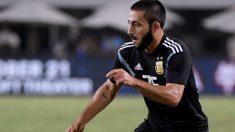 Matías Vargas durante un partido con la selección argentina. (AFP)