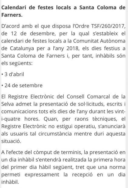 Festivos del Ayuntamiento de Santa Coloma de Farners.