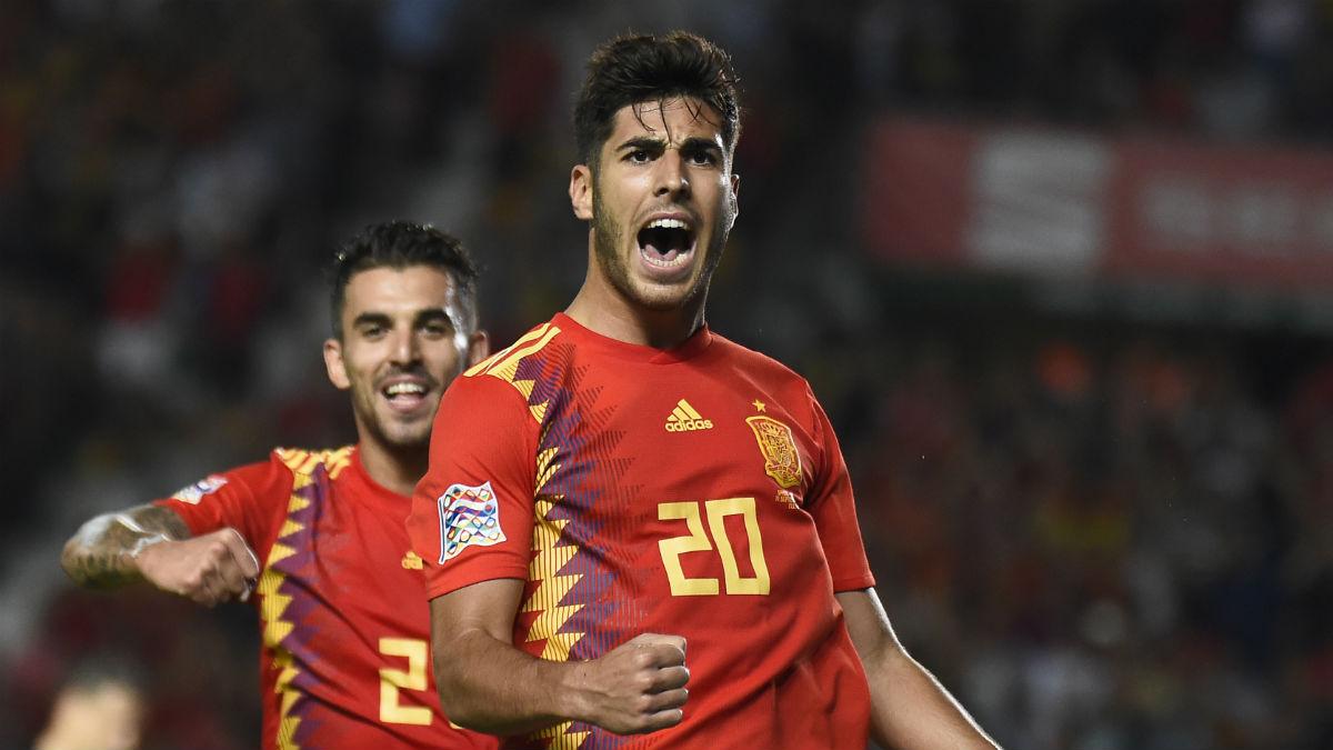Marco Asensio celebra un gol con España. (AFP)