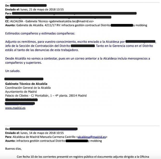 El Ayuntamiento de Madrid remite una denuncia por 'mobbing' de una funcionaria a los acusados