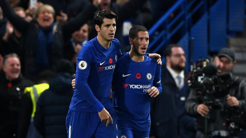 Morata y Hazard, en un partido del Chelsea. (Getty)