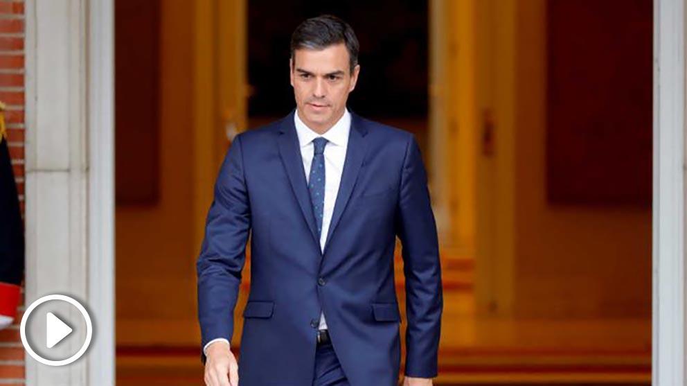 El presidente del Gobierno, Pedro Sánchez  este martes en su encuentro con el presidente de Chile en Moncloa