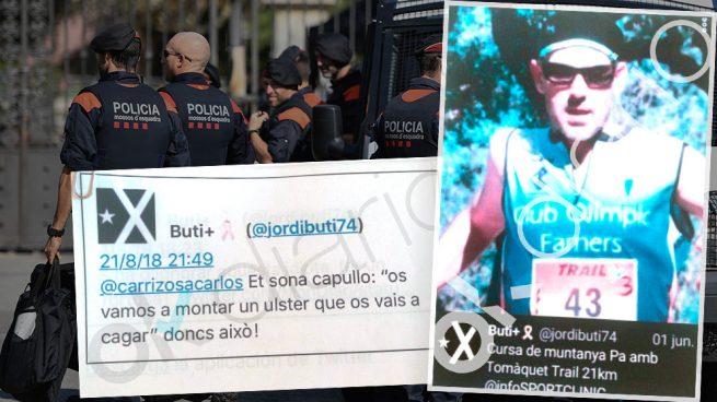 El mosso Jordi Butinyá y uno de los mensajes en que vierte sus amenazas