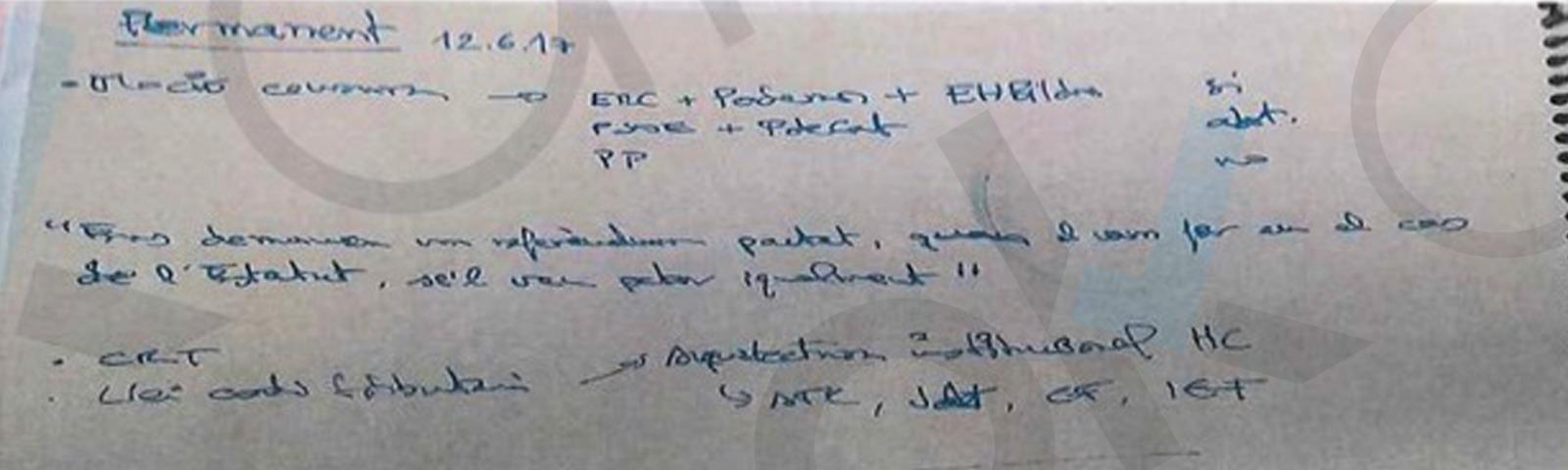 Un documento incautado demuestra que ERC ya planeaba una moción de censura contra Rajoy antes del 1-O