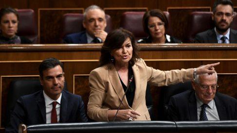 Carmen Calvo este miércoles en el Congreso (EP).