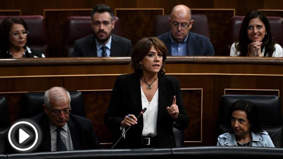 Dolores Delgado esta mañana en el Congreso (EP).