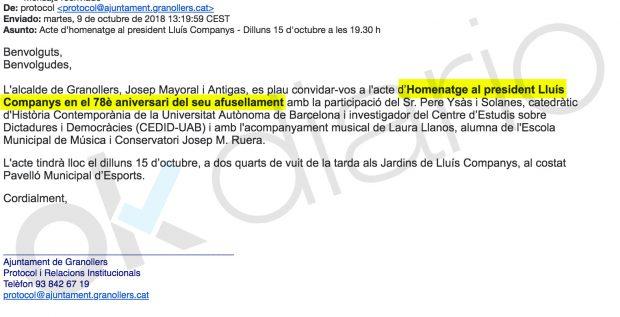 El alcalde del PSC en Granollers homenajeará a Companys responsable de más de 8.000 asesinatos