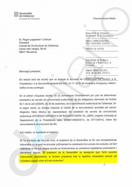 Así amenazaba el Govern de Mas a los medios que no promocionaban su referéndum ilegal del 9-N