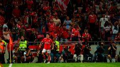 Un jugador del Benfica celebra un gol en el Estadio da Luz. (Getty)