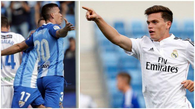 Harper celebra sendos goles con el Málaga y el Real Madrid.