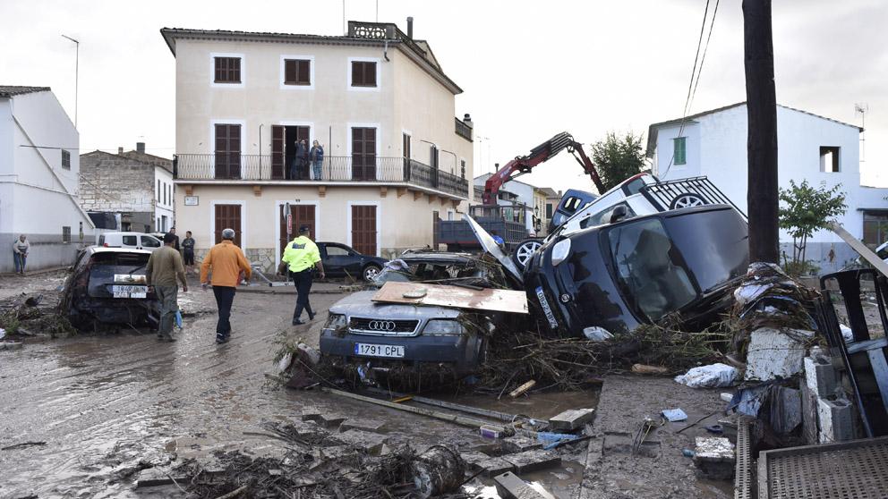 Efectos de la riada a su paso por Sant Llorenç, Mallorca. (Foto: Alberto Vera)