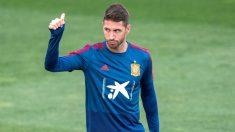 Sergio Ramos, en un entrenamiento con la Selección. (EFE)