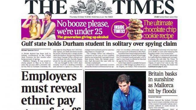 """El 'prestigioso' The Times bromea con la tragedia: """"Gran Bretaña disfruta el sol mientras Mallorca se inunda"""""""