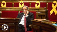 El presidente de la Generalitat, Quim Torra, en el Parlament de Cataluña (Foto: Efe)