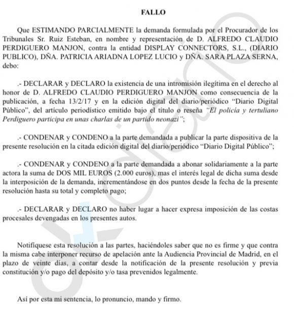 Fallo de la sentencia que condena a Público y a la periodista Patricia López