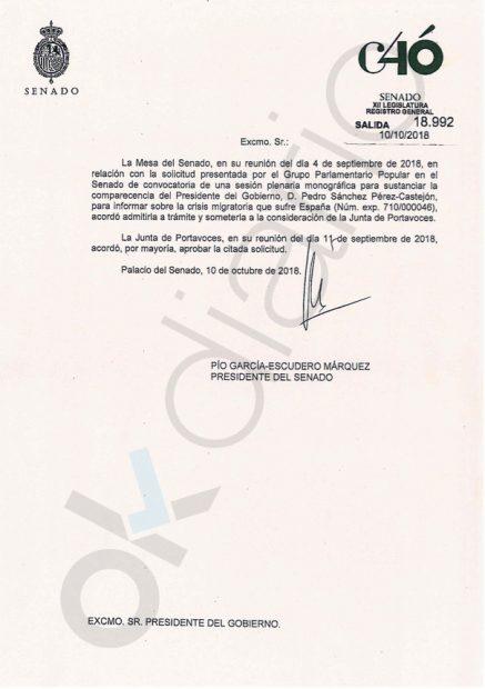 Carta del Senado a Sánchez: existía un acuerdo para su comparecencia por el 'Tesisgate'