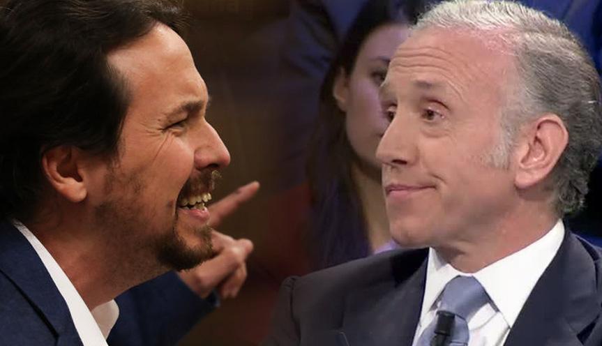 Pablo Iglesias, vicepresidente segundo y líder de Podemos, y Eduardo Inda, director de OKDIARIO.