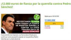 VOX consigue en 71 minutos la fianza para querellarse contra Pedro Sánchez por el plagio.