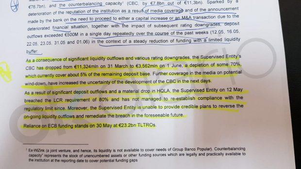 El BCE culpa a lamala cobertura mediática del Popular de la salida de 11.000 millones en depósitos