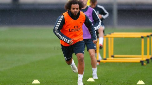Marcelo, en un entrenamiento con el Real Madrid. (realmadrid.com)