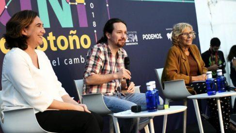 Ada Colau, Pablo Iglesias y Manuela Carmena. (Foto. Podemos)