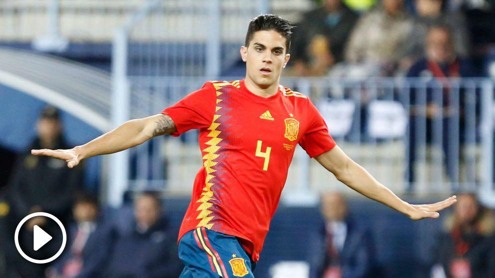 Marc Bartra, en un partido con la selección española.
