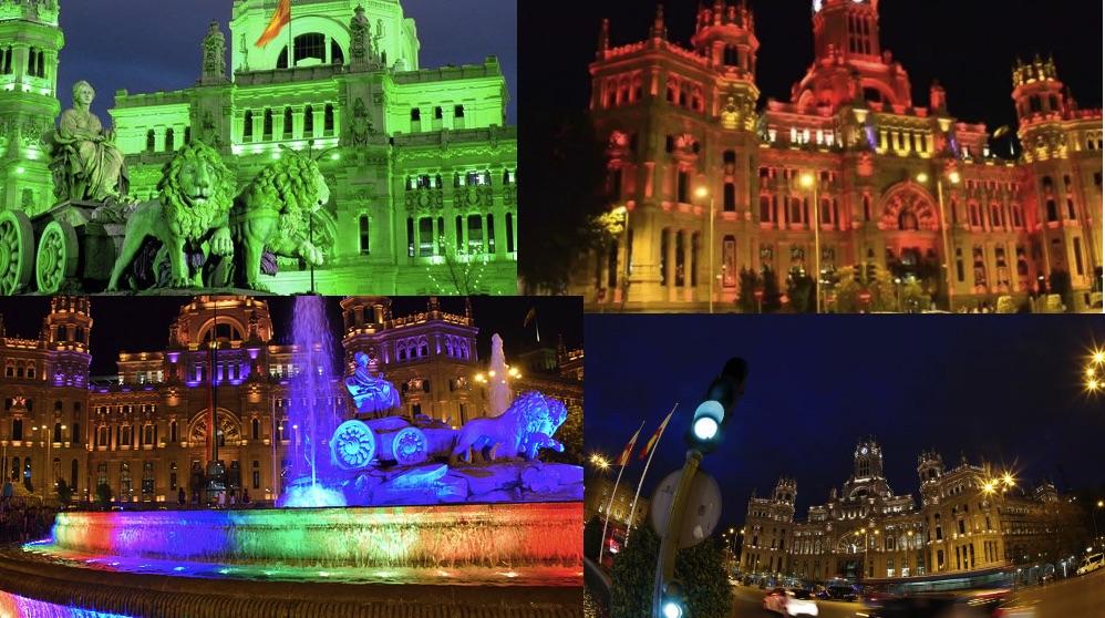 La fachada de Cibeles el Día de San Patricio, el Año Nuevo Chino, el Orgullo y el 12 de octubre.
