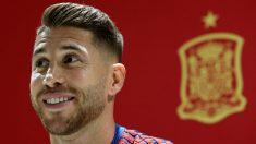 Sergio Ramos, durante una rueda de prensa. (EFE)
