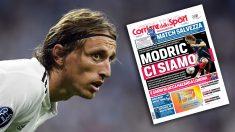 Modric y la portada del 'Corriere dello Sport'.