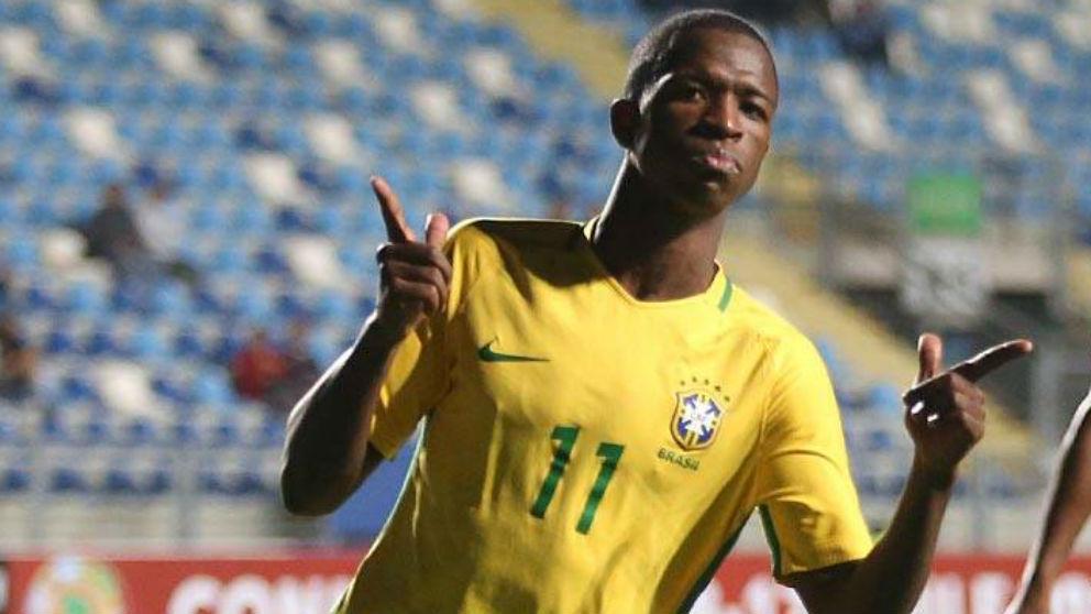 Vinicius celebra un gol con Brasil. (realmadrid.com)