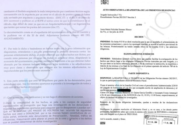 Denuncia presentada contra Sergi Vilamala y auto del Juzgado de Instrucción nº 5 de Vic.