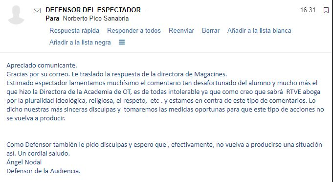 TVE se disculpa con Falange tras descalificarla durante la emisión de un programa de OT