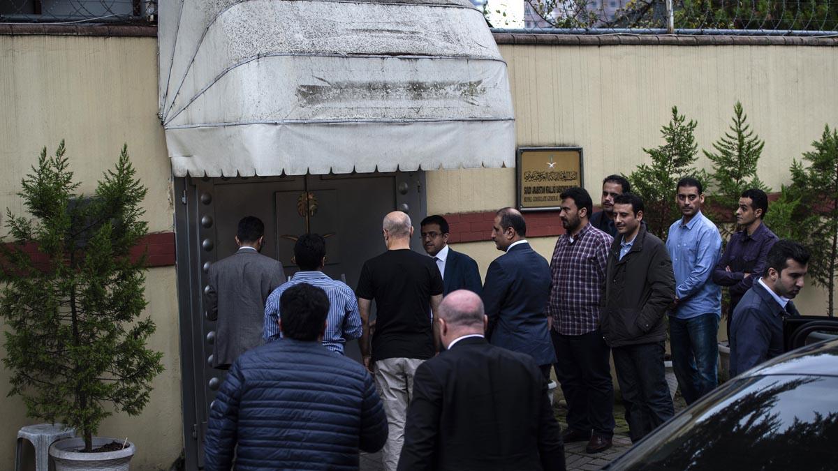 Entrada al consulado de Arabia Saudí en Turquía. Foto: AFP