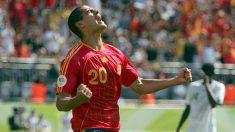 Juanito celebra un gol con la selección española. (Getty)