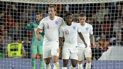 Harry Kane, en la celebración de un gol de Inglaterra a España. (AFP)