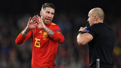 Sergio Ramos durante el España – Inglaterra. (Getty)