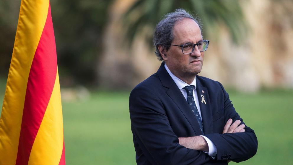 El presidente de la Generalitat, Quim Torra, en la ofrenda por Lluís Companys. (Foto EFE)