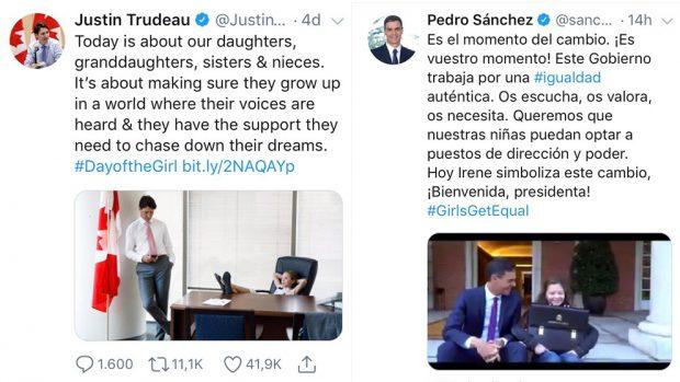 Sánchez vuelve a plagiar: ahora copia en un vídeo la idea de Trudeau con una niña
