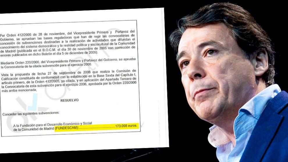 Ignacio González concedió una subvención por 173.098 euros y no lo publicó en el BOCM.
