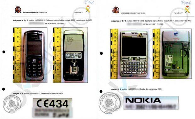 Dos de los teléfonos móviles de Ignacio González analizados por la UCO.