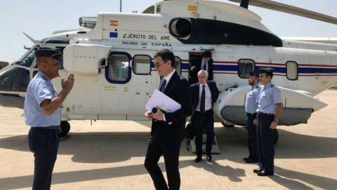 Pedro Sánchez, en el Super Puma del Ejército del Aire.