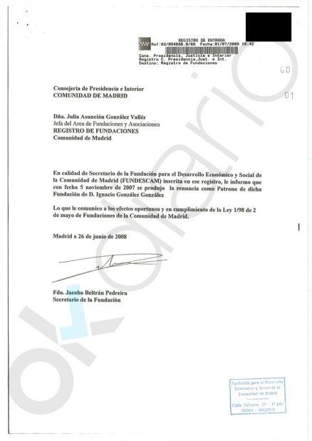 González escondió 173.098 € públicos que dio a la fundación que financiaba al PP y de la que era patrono