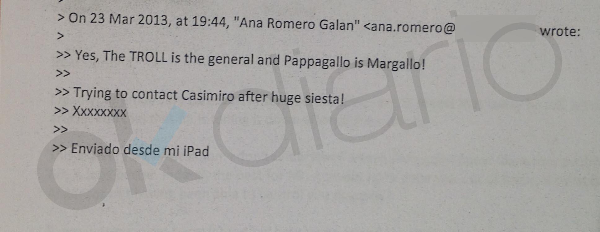 Un email a Corinna reveló la versión de Sanz Roldán: