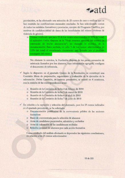 Página 92 de la auditoría externa sobre los cursos de la Faffe.