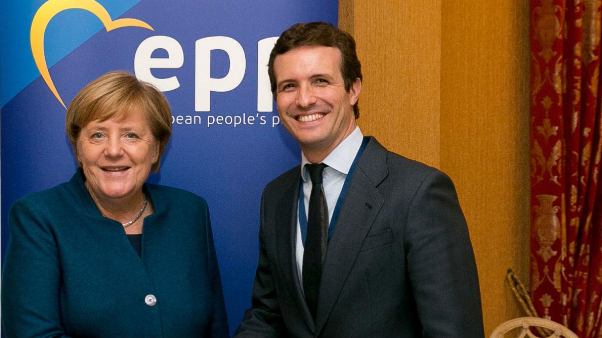Casado con Merkel este miércoles (PP).