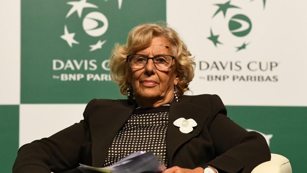 Manuela Carmena, en el acto de presentación de la Copa Davis. (AFP)