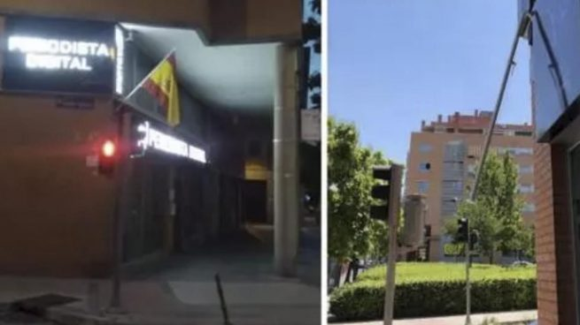 Ataque borroka a la sede de Periodista Digital: segunda vez que les roban la bandera de España